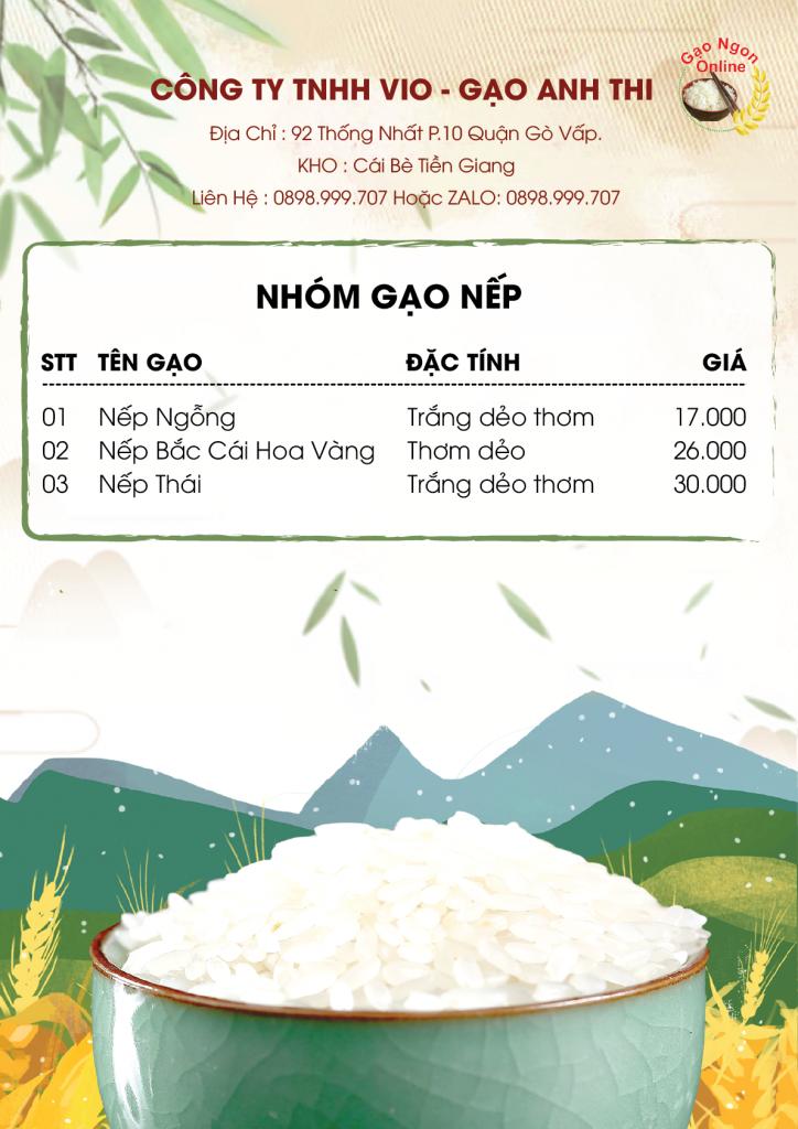 bảng giá gạo nếp